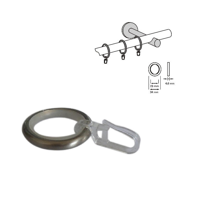 Curtain Ring With Gliding Inlay Hook